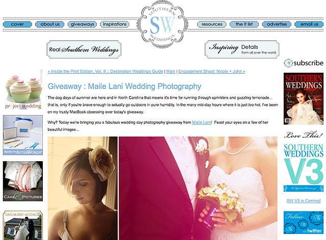 Free Wedding Photography Giveaway from Maile Lani and Southern Weddings