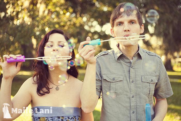 Engagement Photographs with Bubbles