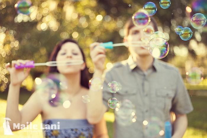 Engagement Photographs with Bubbles