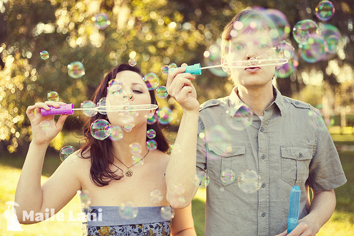 Engagement Pictures with Bubbles