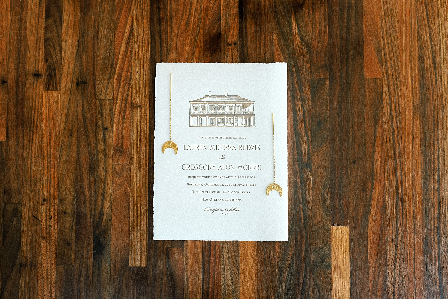 Pitot House Wedding Invitation New Orleans