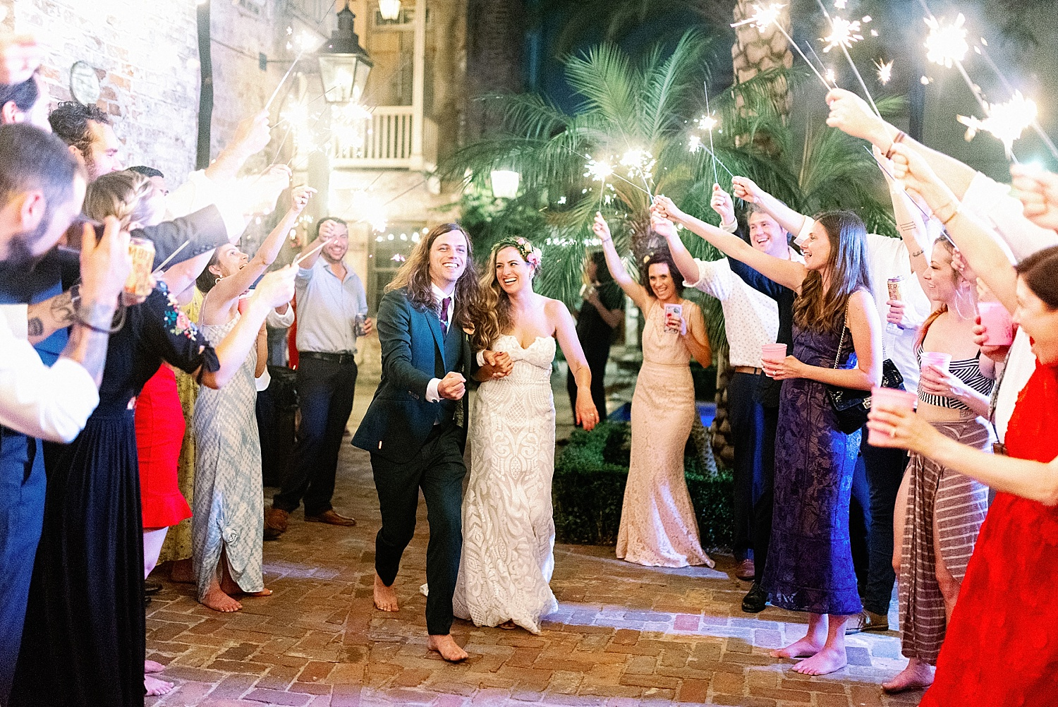 Race and Religious Wedding Sparkler Exit